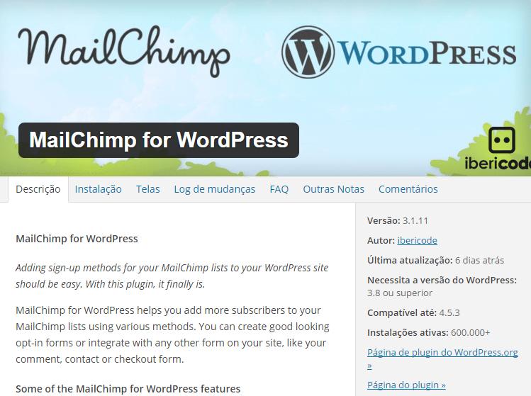 O melhor plugin de Newsletter para WordPress com mailchimp
