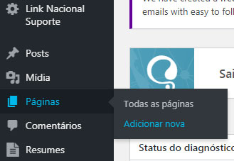 adicionar nova página no wordpress