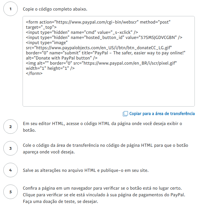 Doação por botão HTML