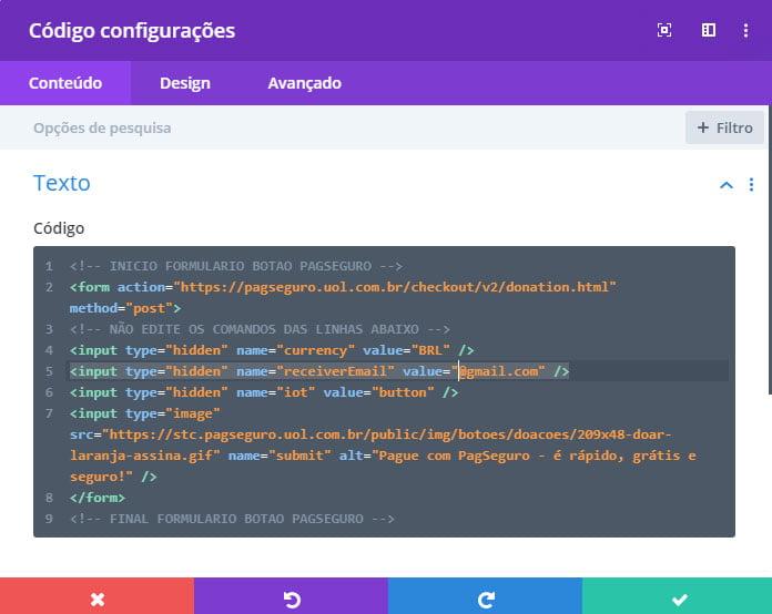 Botão doação Pagseguro - copiar código - integração