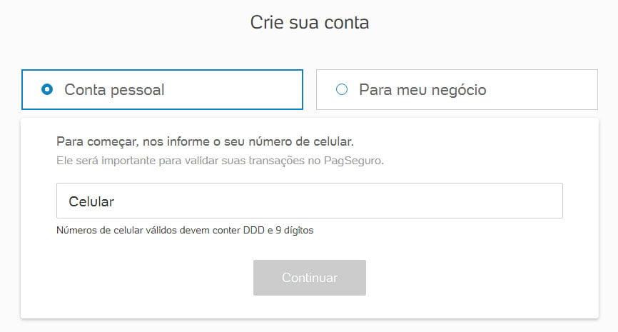 Botão doação PagSeguro crie sua conta