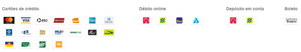 Botão doação PagSeguro - meios de pagamento