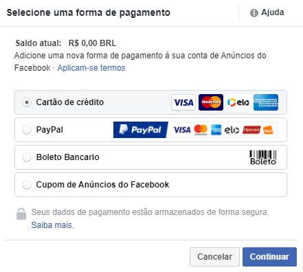 Como anunciar no Facebook formas de pagamento