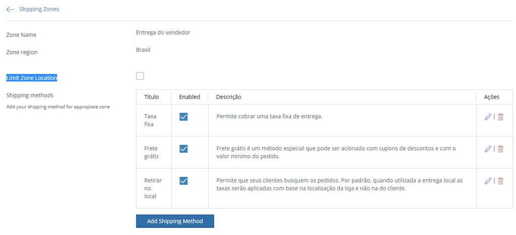 configurar frete add shipping method finalizado