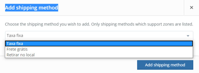 configurar frete add shipping method taxa-fixa