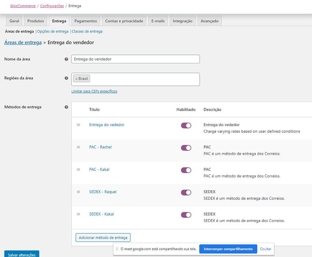 configurar frete áreas de entrega-finalização