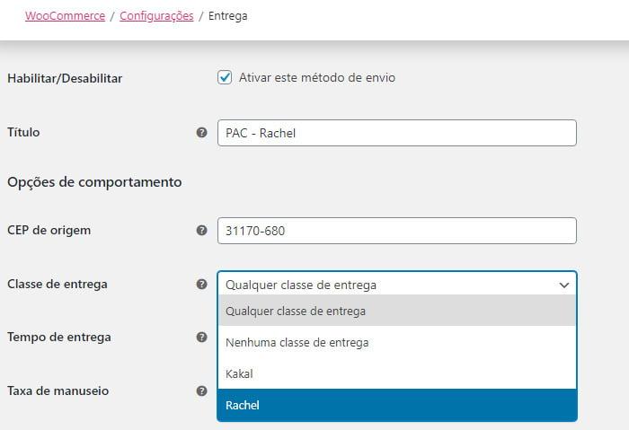 configurar frete editar método de-entrega