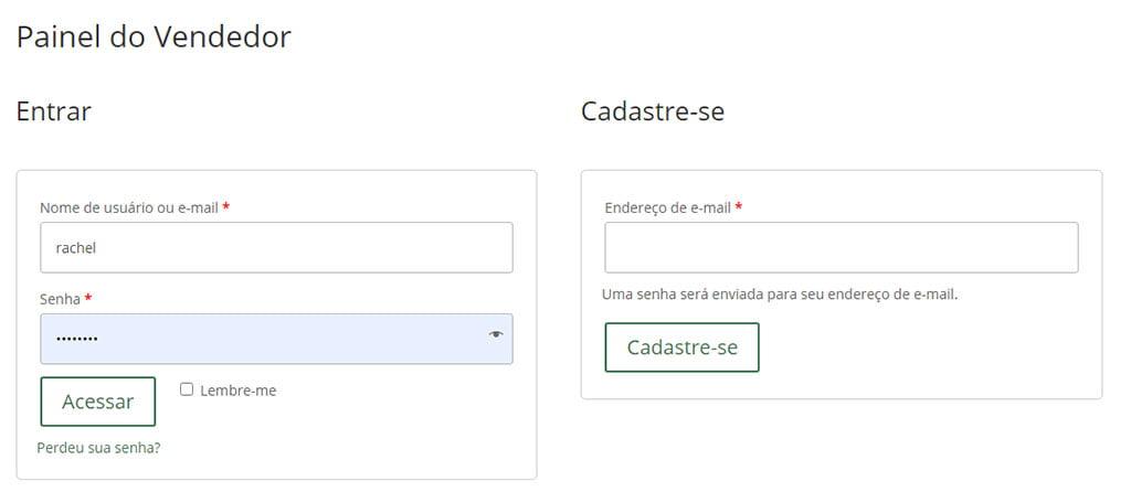 configurar frete login no painel do vendedor