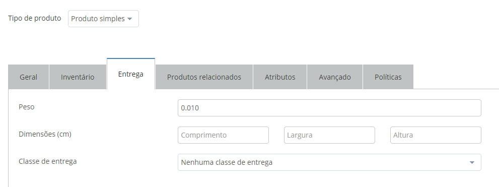 configurar frete selecionar classe de entrega