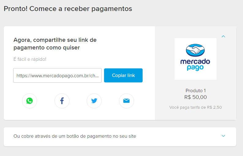 Link de pagamento Mercado Pago 2