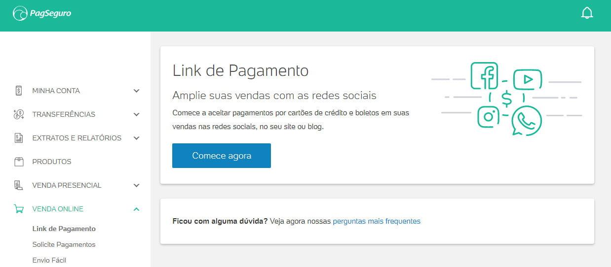 Link de pagamento PagSeguro Criar link