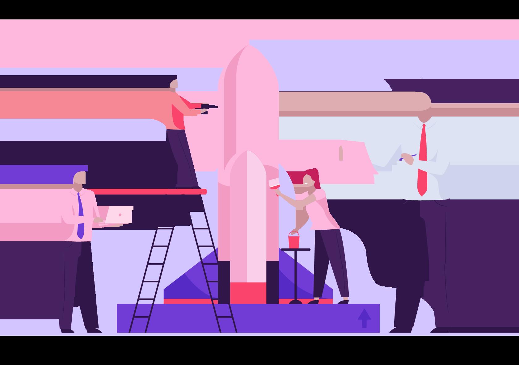 Ilustração de pessoas criando o foguete