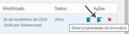 Editar propriedades do formulário