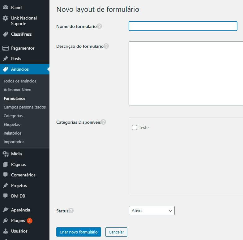 ClassiPress: adicionar novo formulário