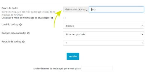Digite o nome da base de dados ou aceite o nome padrão