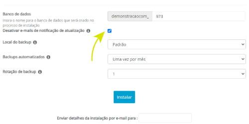 Clique na caixa Desabilitar Notificações de Atualização por E-mail
