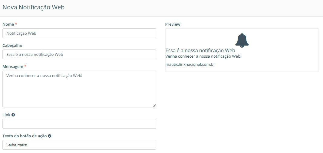 Notificação web