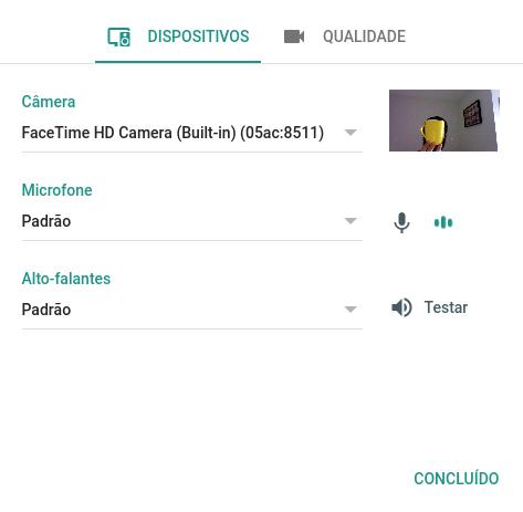 Verificar as configurações do áudio e câmera