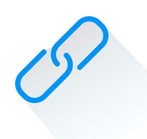 Ícone de link e multimídia
