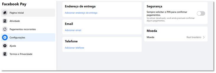 Configurações Facebook Pay