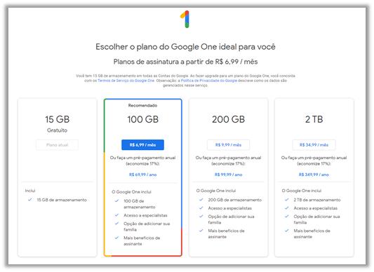 Preços e planos do Google One