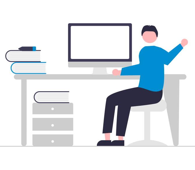 Ilustração de uma pessoa numa mesa de trabalho com um computador.
