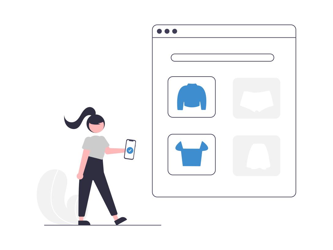 Ilustração de uma pessoa fazendo compras online