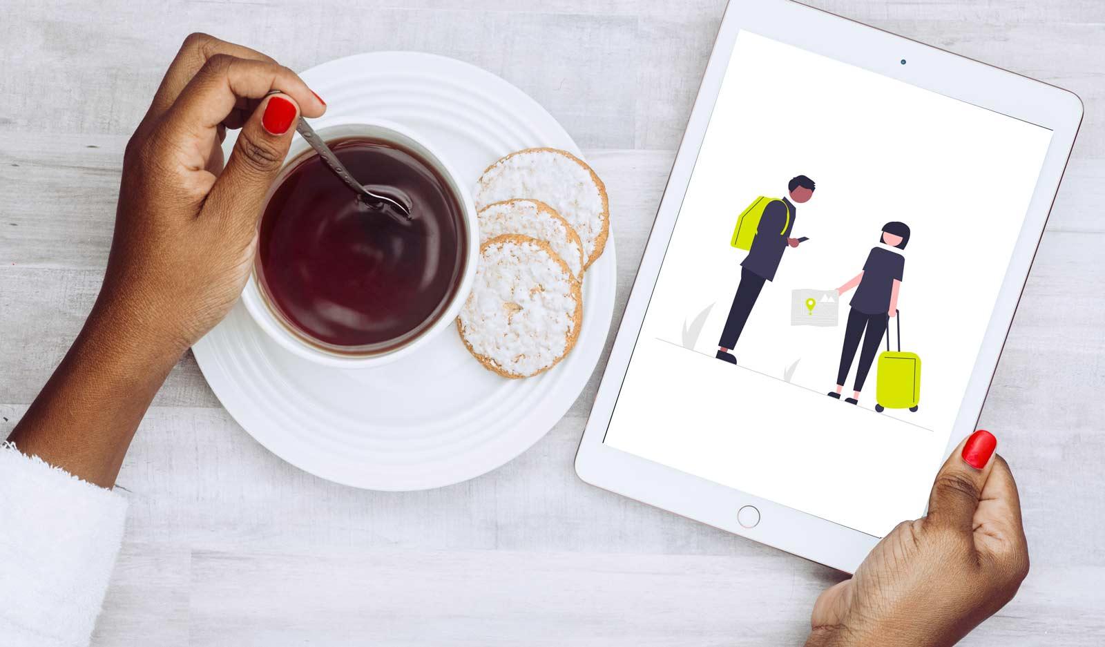 pessoa segurando um tablet com uma ilustração